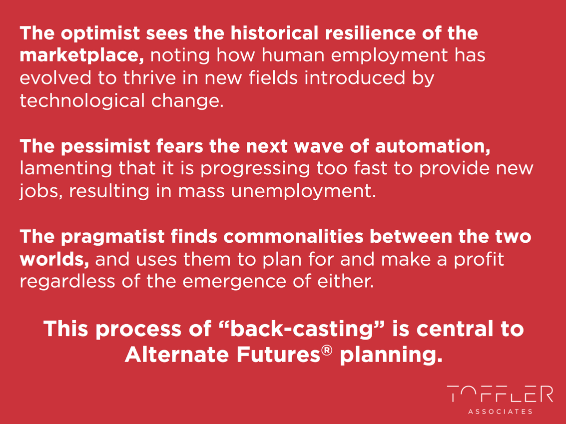 The optimist sees the historical resilience of the marketplace. The pessimist fears the next wave of automation. The pragmatist finds commonalities between the two worlds.